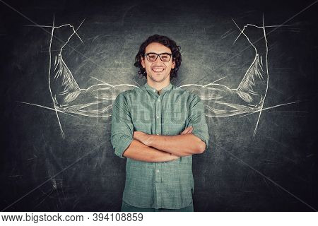 Confident Student Guy, Long Curly Hair Style Wears Eyeglasses, Keeps Arms Crossed, Strong Personalit