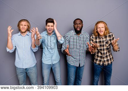 No Unbelievable. Four Pals Man Watch Television Football World Championship Match Feel Upset Nationa