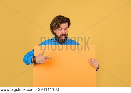 Advertising Banner. Seasons Sale. Advertising Board And Sale. Bearded Man Holding Advertising Board.