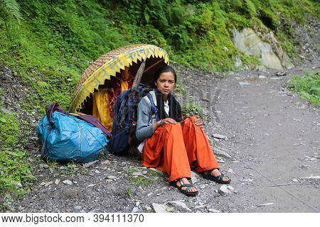 Chamoli, Uttarakhand, India, April 09 2014, Girl On Nanda Devi Raj Jat Yatra In Himalaya India. The