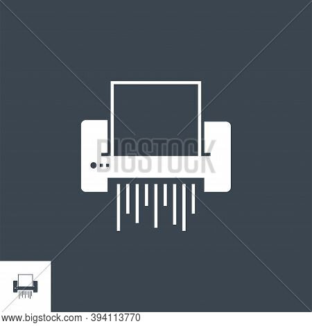 Paper Shredder Related Vector Glyph Icon. Isolated On Black Background. Vector Illustration.