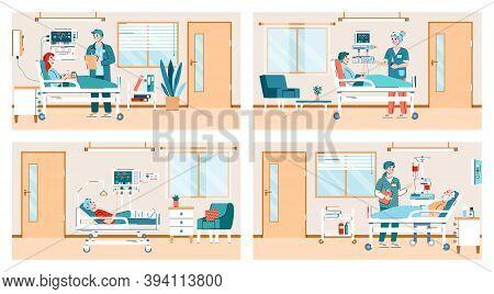 Hospital Ward Scenes Set With Doctors And Patients Cartoon Characters, Flat Vector Illustration. Hea