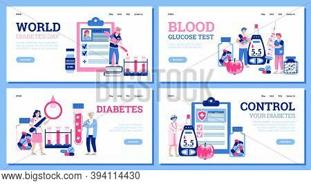 Set Of Web Banners For Diabetes Disease Treatment With Cartoon People Characters, Flat Vector Illust