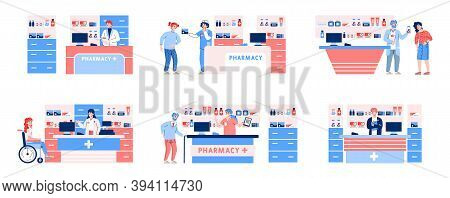 Pharmacy Topic Set With Cartoon Characters Of People Getting Medicaments, Flat Vector Illustration I