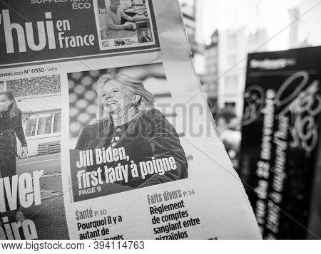 Paris, France - Nov 9, 2020: Detail Of Headline Of Jill Biden Wife Ofjoe Biden In French Newspaper A