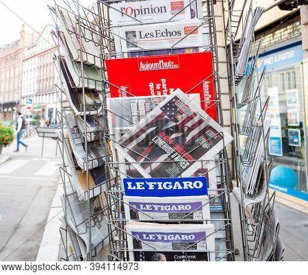 Paris, France - Nov 9, 2020: Liberation Newapaper At Press Kiosk With Joe Biden And Kamala Harris Pr