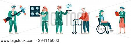 Neurology Medicine Banner With Doctors Neurologists And Patients, Flat Cartoon Vector Illustration O