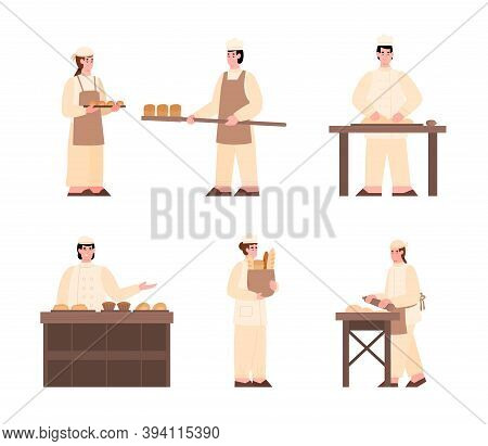 Set Of Characters Of Bakers Engaged In Baking Process, Selling Bread And Sweet Pastries. People In U