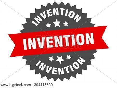 Invention Round Isolated Ribbon Label. Invention Sign
