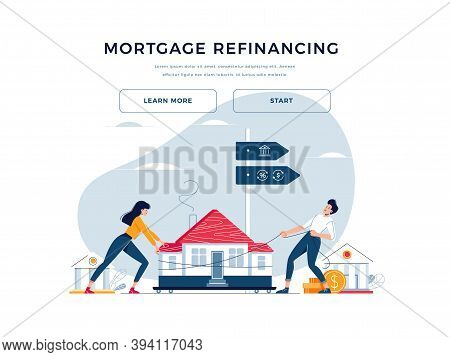 Mortgage Refinance Banner. Co-borrowers Push And Drag A Home To The Bank For House Pawning With Gett