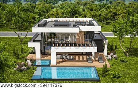 3D Rendering Of Modern House In Luxurious Style