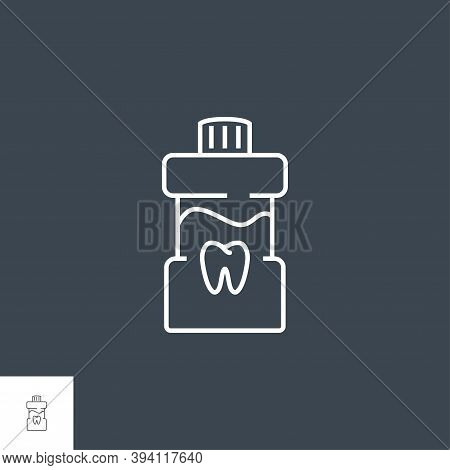 Mouth Rinse Line Icon. Mouth Rinse Related Vector Line Icon. Isolated On Black Background. Editable