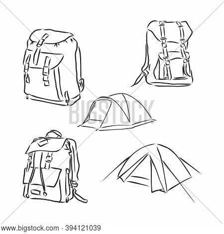 Vector Sketch Illustration - Hipster Backpack, Backpack, Vector Sketch Illustration