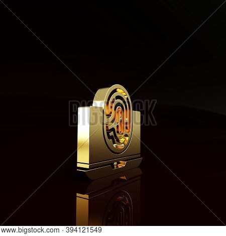 Gold Laptop With Fingerprint Icon Isolated On Brown Background. Id App Icon. Identification Sign. To