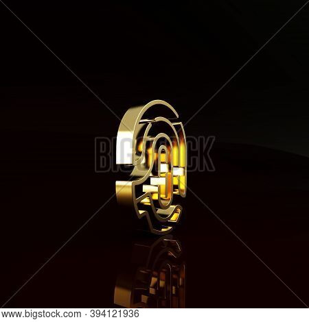Gold Fingerprint Icon Isolated On Brown Background. Id App Icon. Identification Sign. Touch Id. Mini
