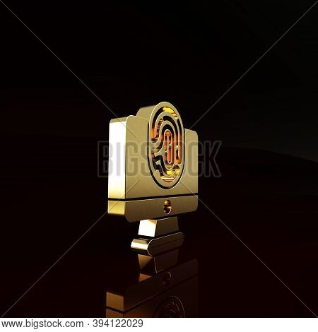 Gold Monitor With Fingerprint Icon Isolated On Brown Background. Id App Icon. Identification Sign. T