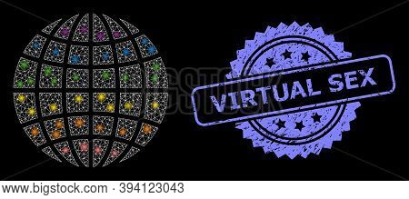 Glossy Mesh Lgbt Globe With Glowing Spots, And Virtual Sex Unclean Ribbon Stamp. Blue Stamp Has Virt