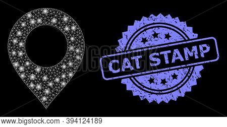 Glossy Mesh Map Mark With Light Spots, And Cat Stamp Dirty Ribbon Stamp. Blue Stamp Seal Contains Ca