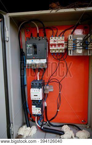 Mata De Sao Joao, Bahia / Brazil - November 8, 2020: Control Panel For Fuses And Electrical Breakers