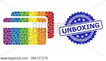 Rainbow Gradient Colored Round Dot Collage Credit Cards, And Unboxing Scratched Rosette Seal Imitati