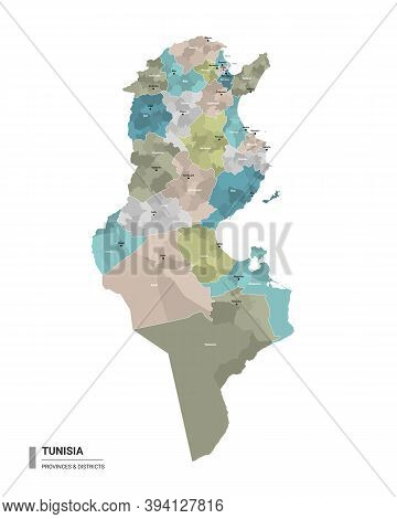 Tunisia Higt Detailed Map With Subdivisions. Administrative Map Of  Tunisia With Districts And Citie
