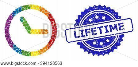 Spectrum Gradient Colorful Rounded Dot Collage Clock, And Lifetime Rubber Rosette Stamp. Blue Stamp