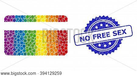 Bright Gradient Vibrant Round Dot Mosaic Credit Card, And No Free Sex Rubber Rosette Seal Print. Blu