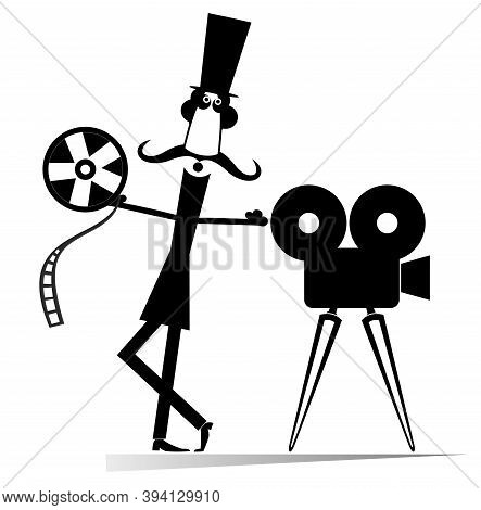 Cartoon Long Mustache, Movie Projector, Tape Illustration. Cartoon Long Mustache Man In The Top Hat