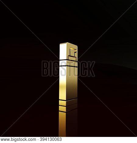 Gold Shaving Gel Foam Icon Isolated On Brown Background. Shaving Cream. Minimalism Concept. 3d Illus