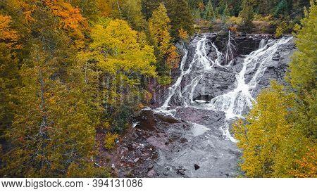 Eagle river falls in Keweenaw peninsula in Michigan upper peninsula during autumn time.