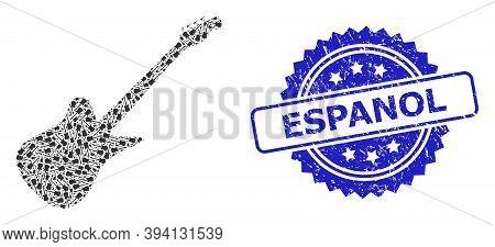 Vector Recursive Collage Electric Guitar, And Espanol Unclean Stamp Seal. Blue Seal Contains Espanol