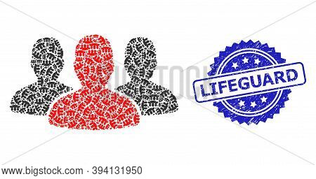 Vector Recursive Mosaic Leader Men Group, And Lifeguard Rubber Seal Imitation. Blue Seal Includes Li