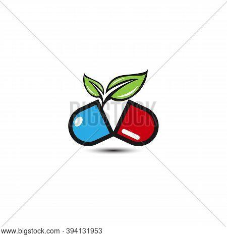 Herbal Capsule Pill Leaf Medicine Drug Logo Vector Icon Download.eps 10