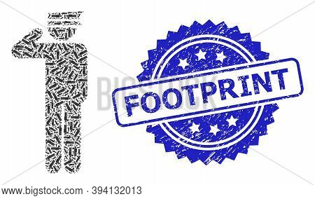 Vector Fractal Mosaic Police Officer, And Footprint Unclean Seal. Blue Seal Includes Footprint Text