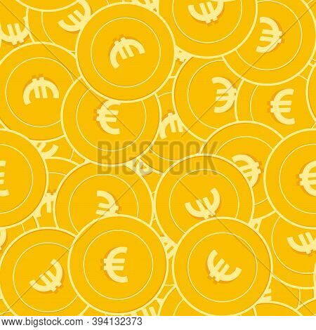 European Union Euro Coins Seamless Pattern. Unusual Scattered Eur Coins. Big Win Or Success Concept.