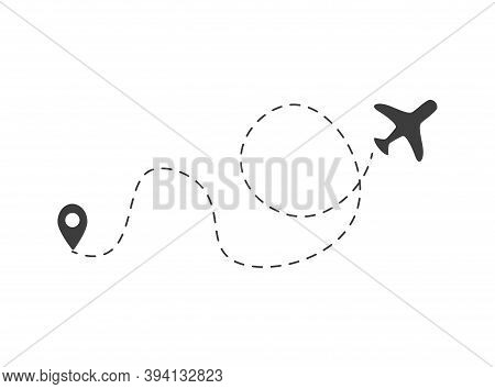 Airplane Dotted Path, Aircraft Tracking, Trace Or Road Vector Illustration For Infographic Design. P