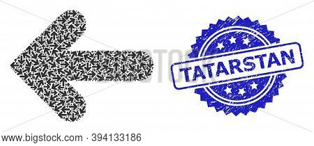 Vector Recursive Collage Left Direction, And Tatarstan Dirty Stamp. Blue Stamp Contains Tatarstan Ti