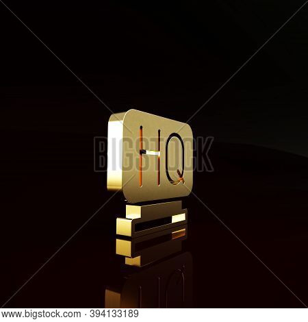 Gold Military Headquarters Icon Isolated On Brown Background. Minimalism Concept. 3d Illustration 3d
