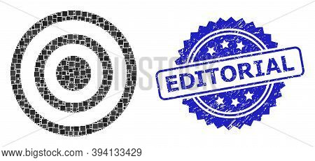 Square Dot Mosaic Concentric Circles And Editorial Textured Stamp. Blue Stamp Seal Includes Editoria