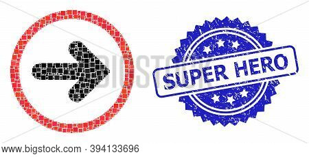 Square Mosaic Right Pointer And Super Hero Unclean Stamp Seal. Blue Stamp Seal Includes Super Hero T