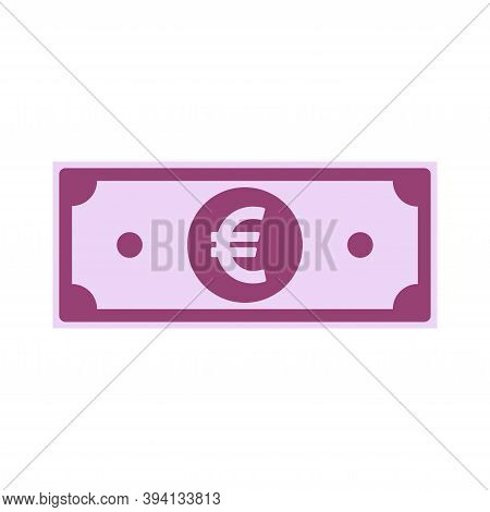 European Union Euro Paper Notes Isolated On White Background. Eur Icon, Cartoon Imitation. Europe Mo
