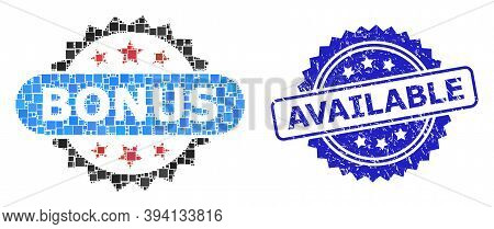 Square Mosaic Bonus Tag And Available Textured Stamp Print. Blue Stamp Seal Includes Available Text