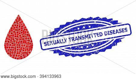 Square Dot Mosaic Blood Drop And Sexually Transmitted Diseases Rubber Stamp Print. Blue Stamp Seal I