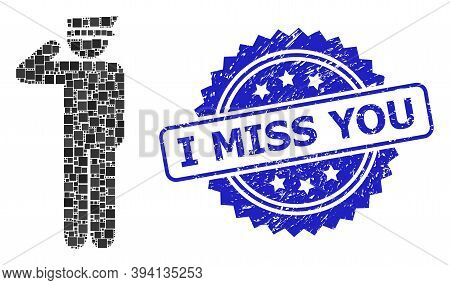 Square Dot Mosaic Police Officer And I Miss You Grunge Stamp Seal. Blue Stamp Seal Contains I Miss Y