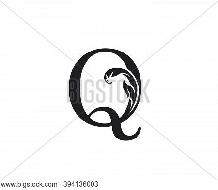Classic Q Letter Swirl Logo. Black Q With Classy Leaves Shape Design Perfect For Boutique, Jewelry,