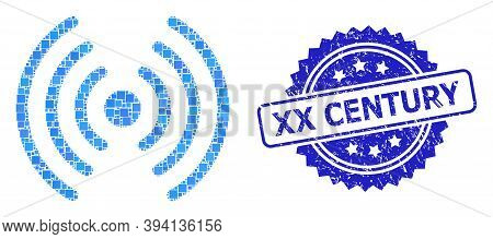 Square Dot Collage Wi-fi Signal And Xx Century Rubber Seal. Blue Stamp Seal Includes Xx Century Capt