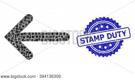Square Dot Mosaic Left Arrow And Stamp Duty Grunge Stamp Seal. Blue Stamp Seal Includes Stamp Duty T