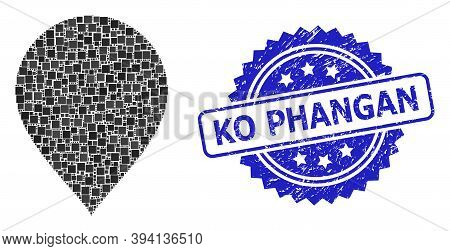 Square Mosaic Map Pointer And Ko Phangan Corroded Stamp Seal. Blue Seal Contains Ko Phangan Text Ins