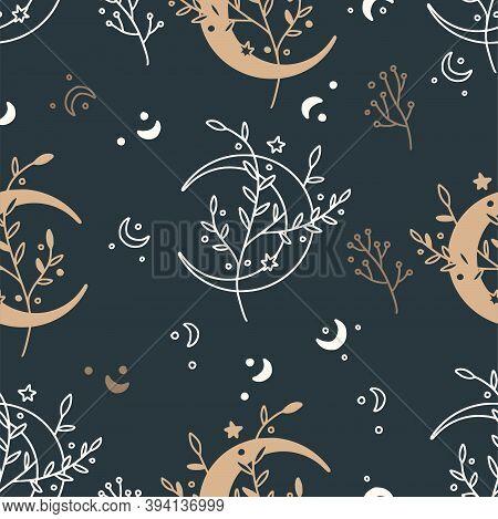 Celestial Floral Seamless Mystic Pattern. Boho Mystical Print Design Witk Moon Ans Stars On A Black