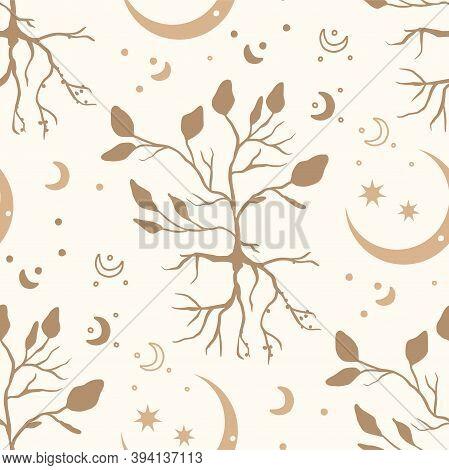 Celestial Floral Brunch Seamless Mystic Pattern. Boho Mystical Teree Print Design Witk Moon Ans Star